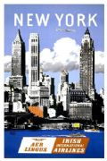 Vintage travel poster, Aer Lingus, New York
